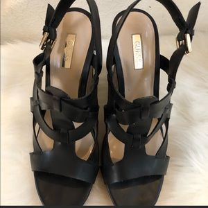 Black Guess size 8.5 cork wedges